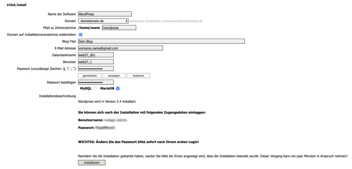 1-Klick-Installation konfigurieren