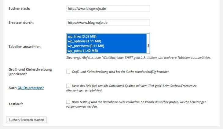Alle URLs mit HTTP durch neue URLs mit HTTPS ersetzen