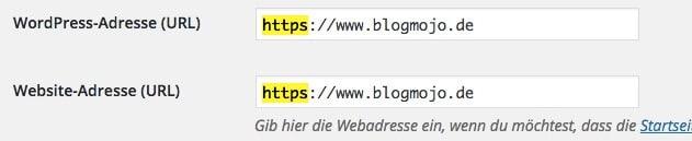 WordPress-Adresse und Website-Adresse anpassen
