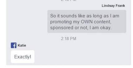 Screenshot von http://agrandelife.net/ mit der Antwort der Facebook-Mitarbeiterin