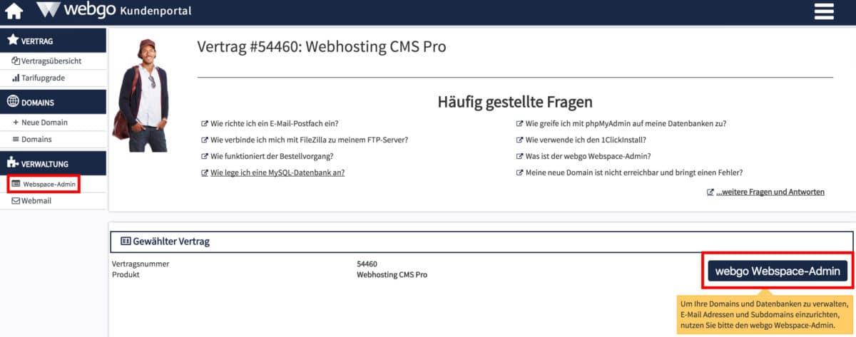 Vom webgo Kundenportal zum Webspace-Admin