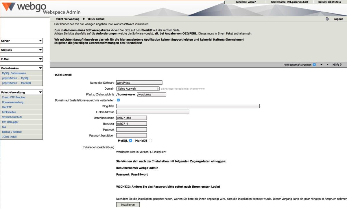 WordPress One-Click-Installation