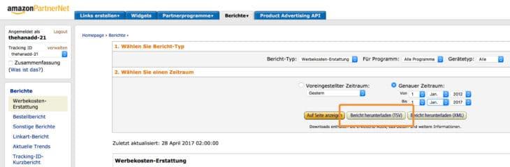 Rapport d'exportation du programme d'affiliation Amazon