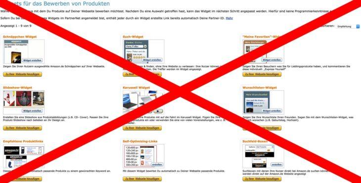 Widgets für das Bewerben von Produkten im Amazon Partnernet