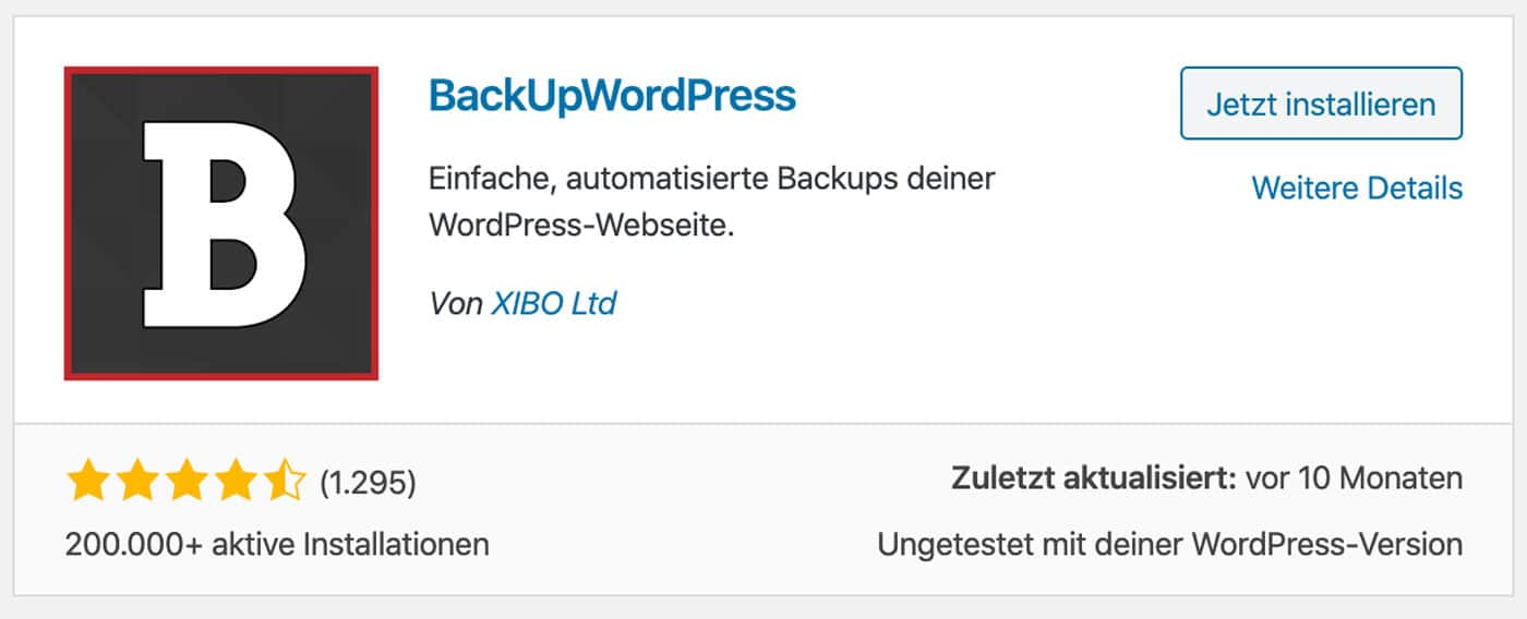 BackUpWordPress ist ein komplettes Backup Plugin für WordPress