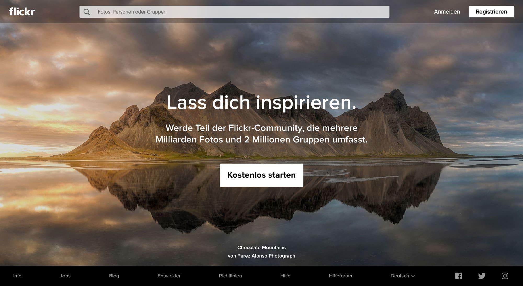 Flickr stellten Millionen von kostenlosen Bildern zur Verfügung