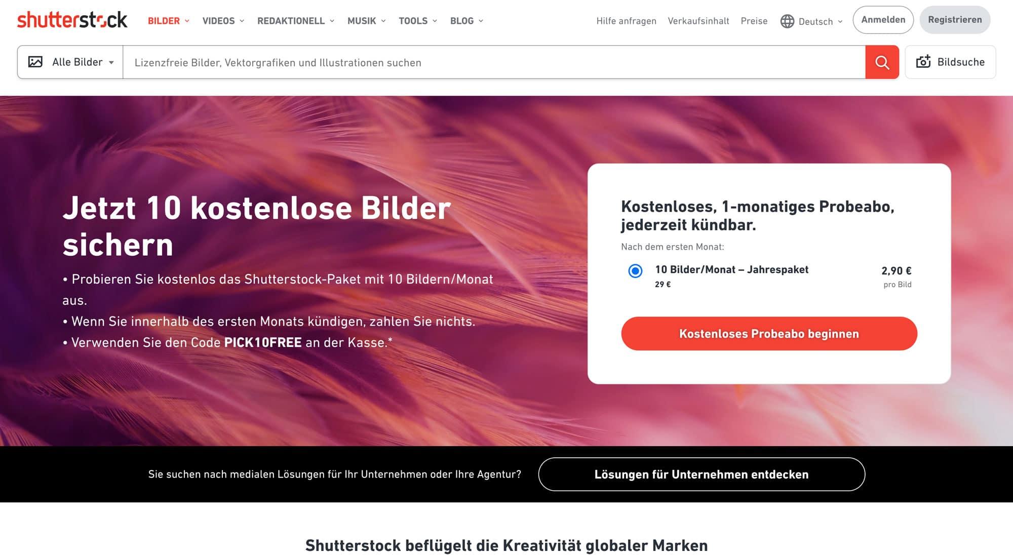 Shutterstock ist eine tolle Premium-Bilddatenbank