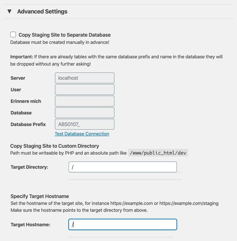 WP Staging Pro bietet dir zahlreiche erweiterte Einstellungen