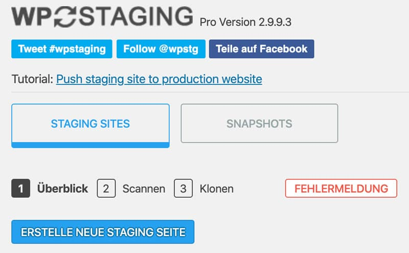 Staging starten mit dem Plugin WP Staging Pro