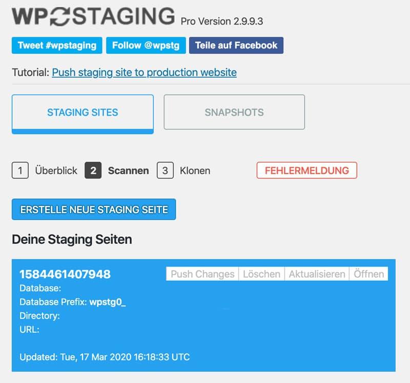 Die Übersicht von WP Staging Pro nach erfolgreichem Staging