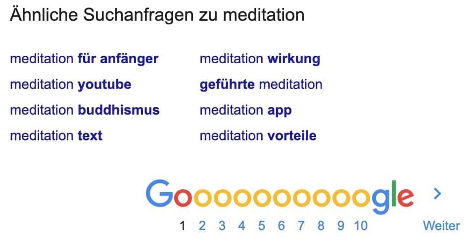Ähnliche Suchanfragen in der Google-Suche