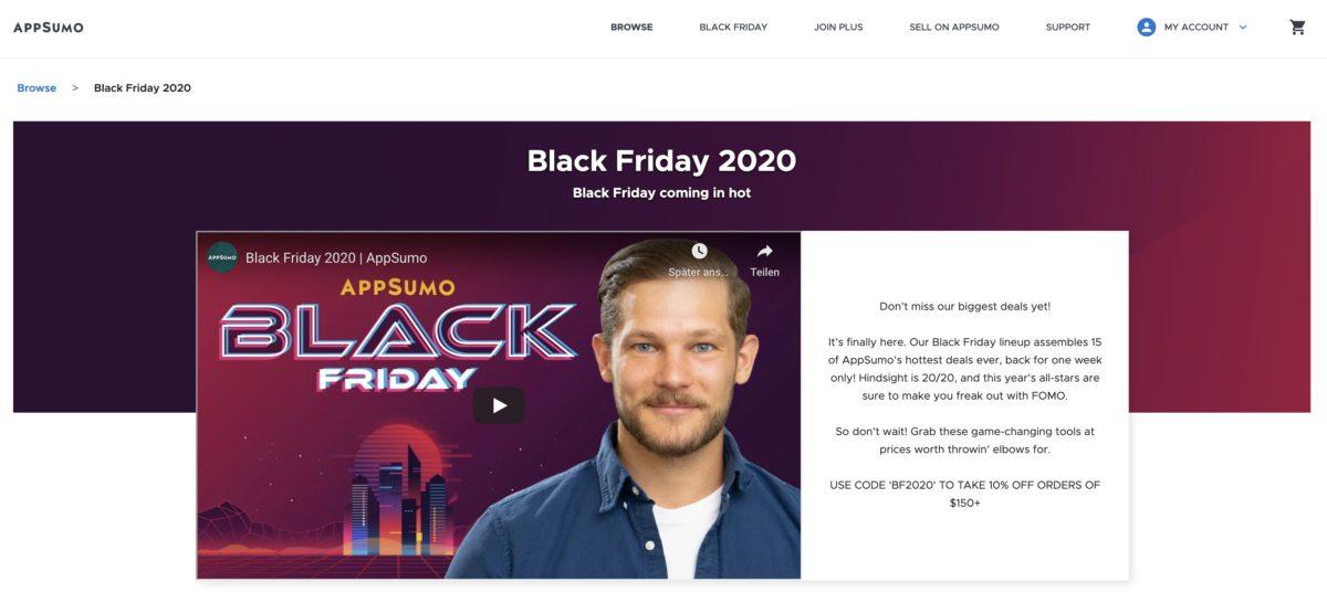 AppSumo Deals am Black Friday 2020