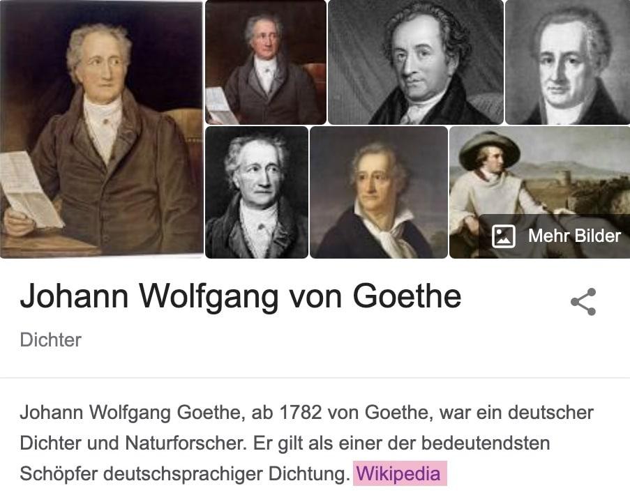 Ausschnitt aus Wikipedia-Artikel im Knowledge Panel von Johann Wolfgang von Goethe