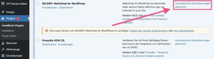 Automatische Aktualisierungen für WordPress-Plugins aktivieren