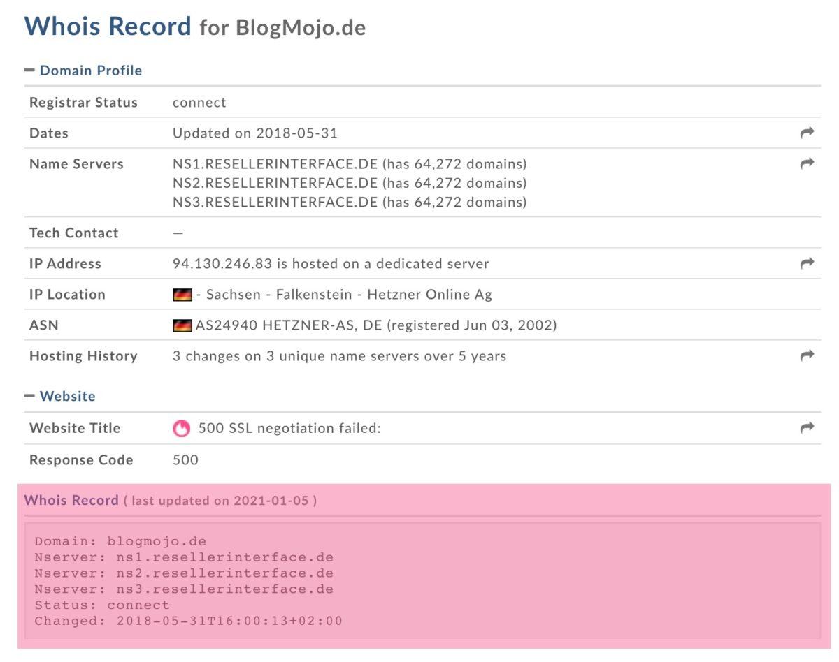 Beispiel für einen WHOIS-Record