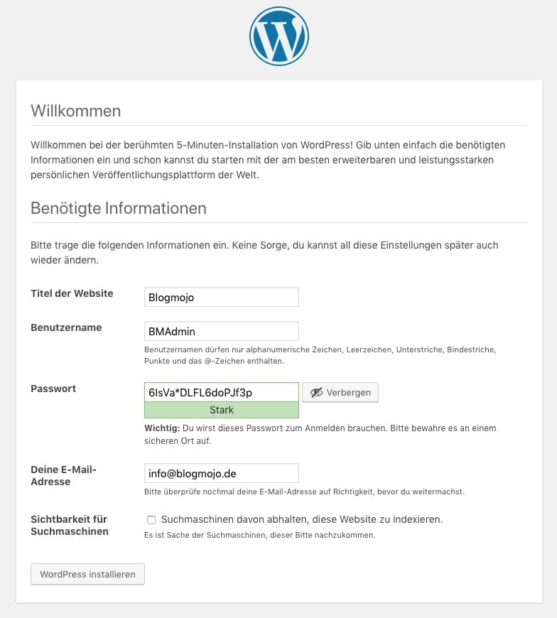 Benötigte Informationen zur WordPress-Installation