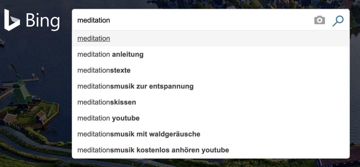 Suchvorschläge von Bing