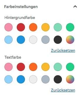 Farbeinstellungen beim Textblock