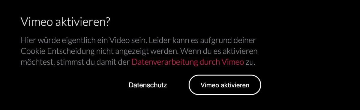 Vidéo Vimeo bloquée avec DSGVO Pixelmate