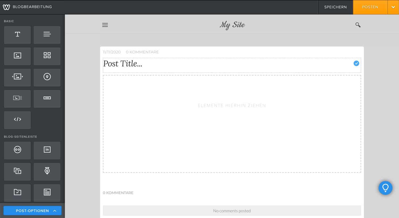 Das Erstellen eines Blog Posts ist bei Weebly sehr umständlich