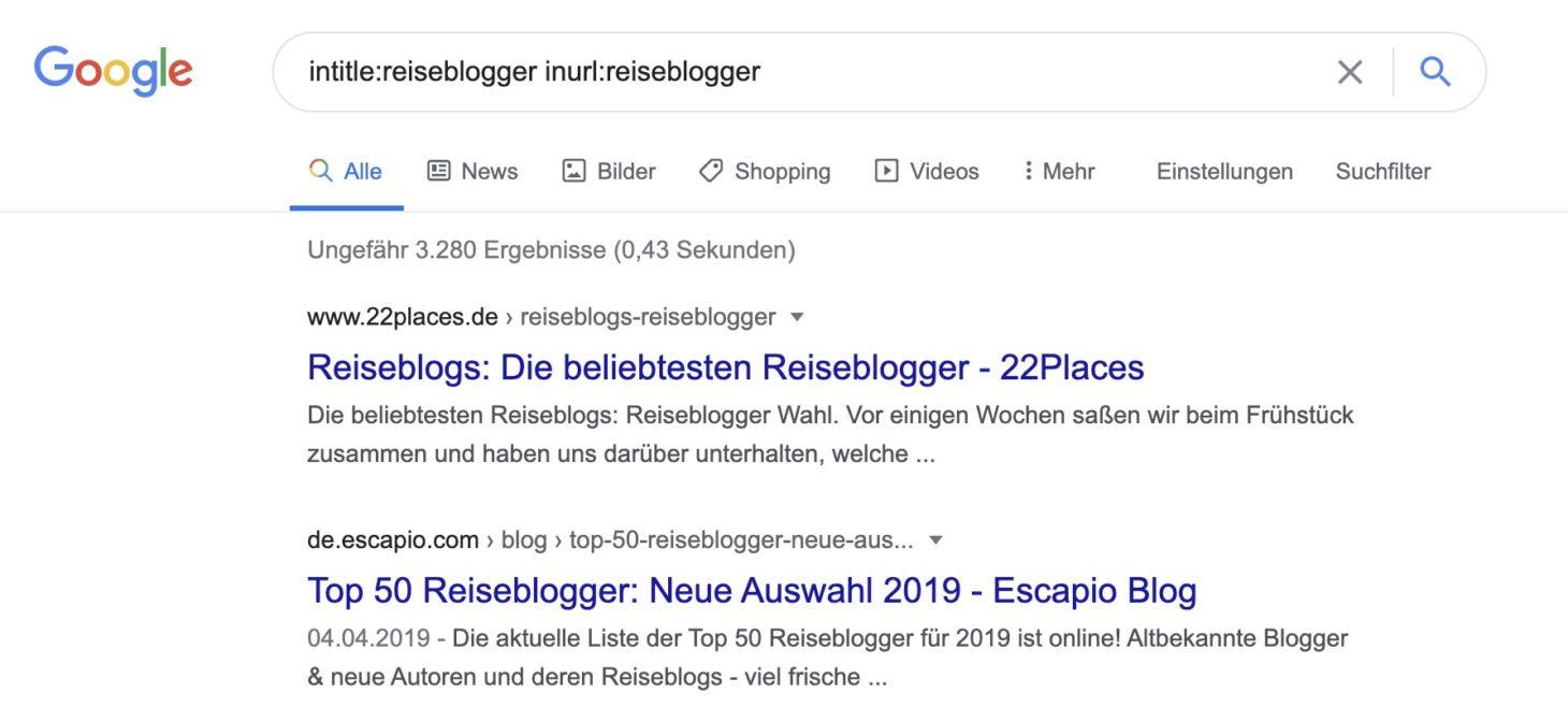 Blogger-Bestenliste mit intitle: und inurl: finden