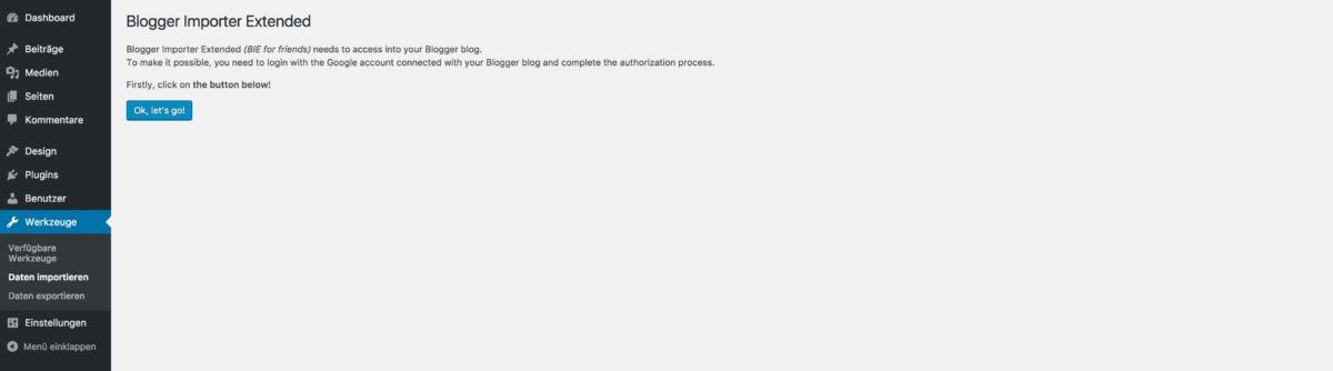 Blogger Importer Extended starten
