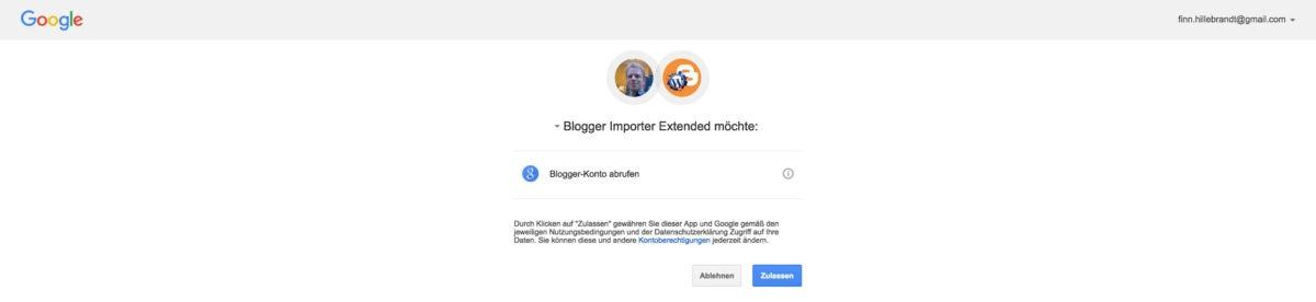 Blogger Importer Extended Zugriff auf Google-Konto gewähren