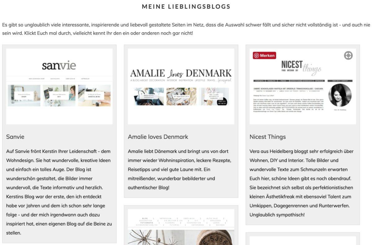 Blogroll mit Logos und Screenshots