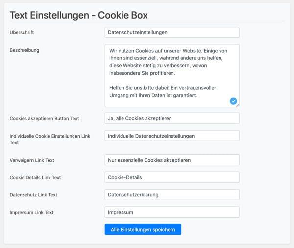 Der Text der Borlabs Cookie Box lässt sich komplett individualisieren.