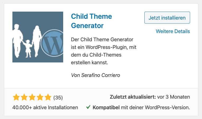 Um ein Child Theme zu erstellen kannst du einfach das Plugin WordPress Child Theme Generator verwenden