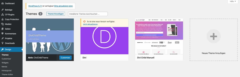 Das erfolgreich erstellte Child-Theme sollte unter Design>Themes zu finden sein.