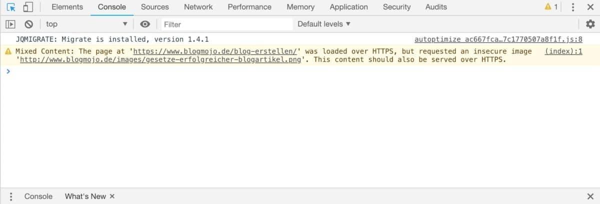 Contenu mixte dans les outils de développement de Chrome