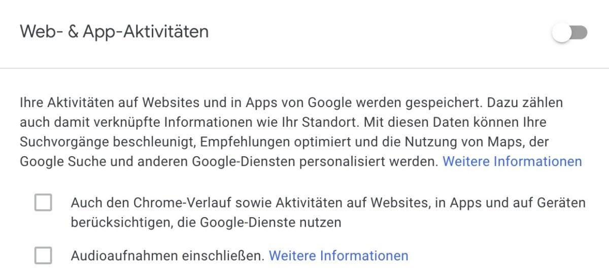 Chrome-Verlauf in Web- & App-Aktivitäten