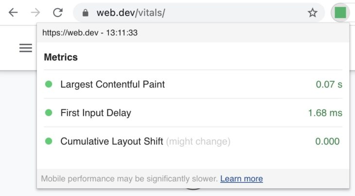 Chrome Web Vitals Chrome Extension
