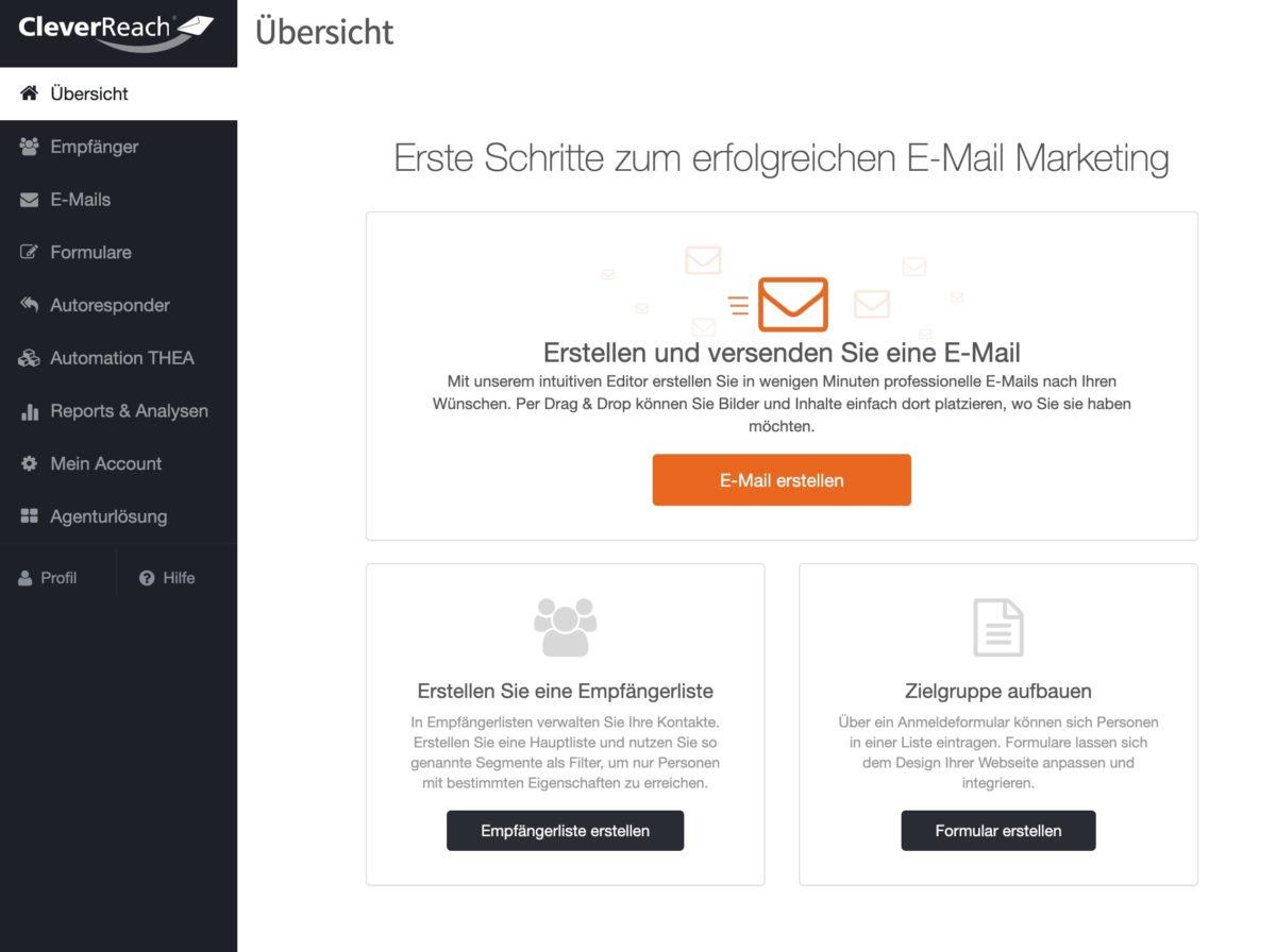 Die deutsche Benutzeroberfläche von CleverReach