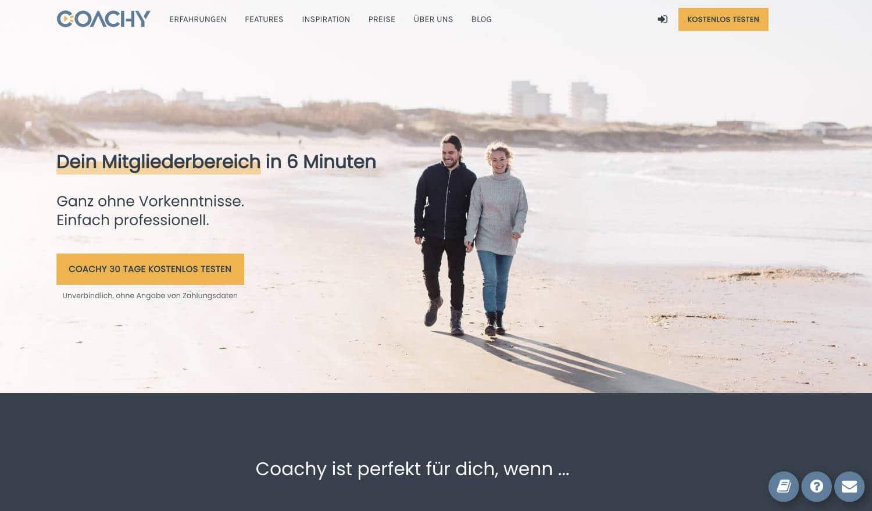 Der deutsche Anbieter Coachy hilft dir dabei, Online-Kurse zu erstellen.