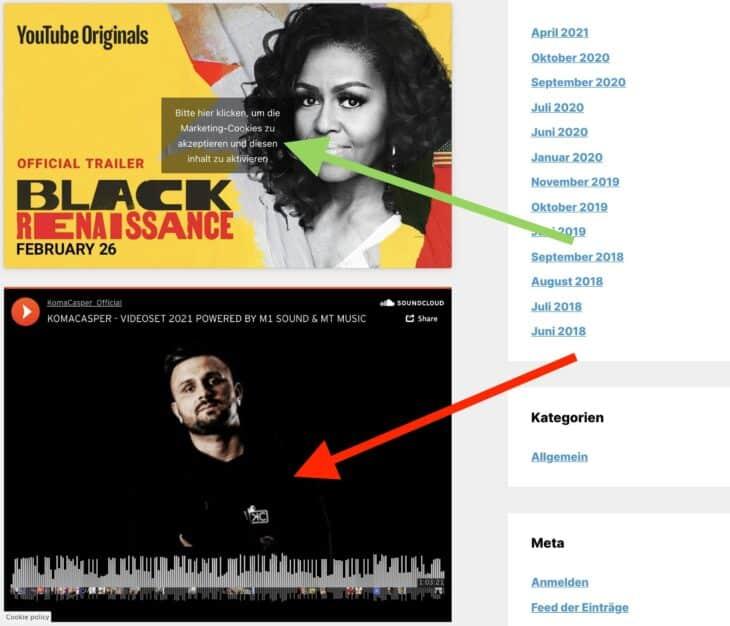 Der Content-Blocker von Complianz erkennt das eingebettete YouTube-Video, aber nicht den SoundCloud-Player