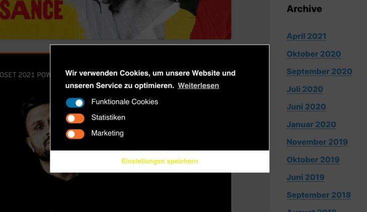 Cookie-Banner von Complianz