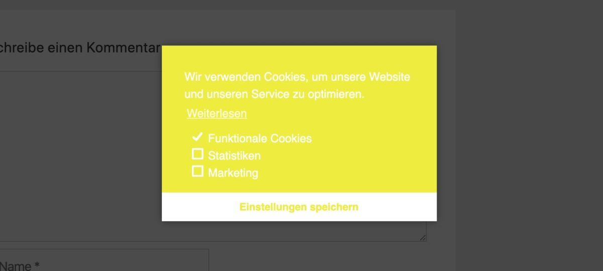 Cookie-Banner von Complianz