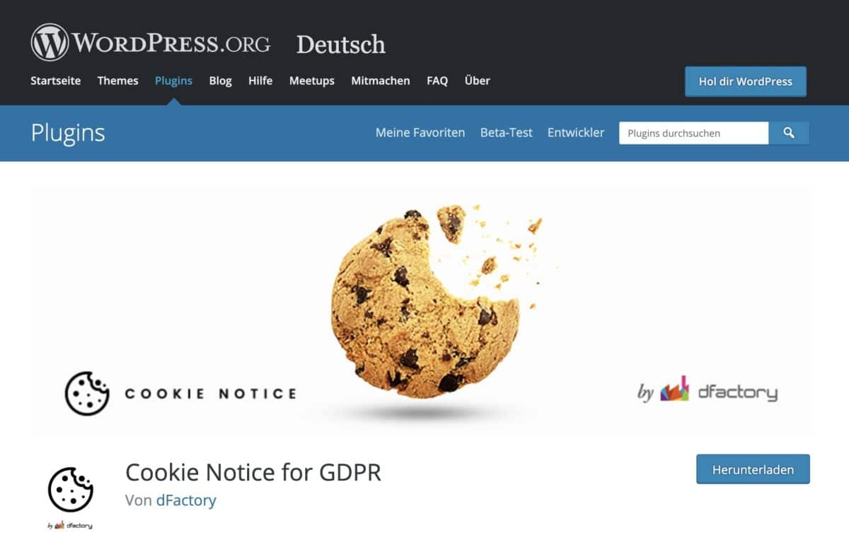 Notification de cookie pour GDPR