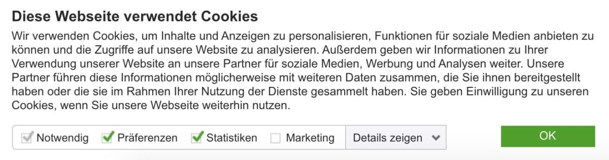 Cookie-Pop-Up von Cookiebot