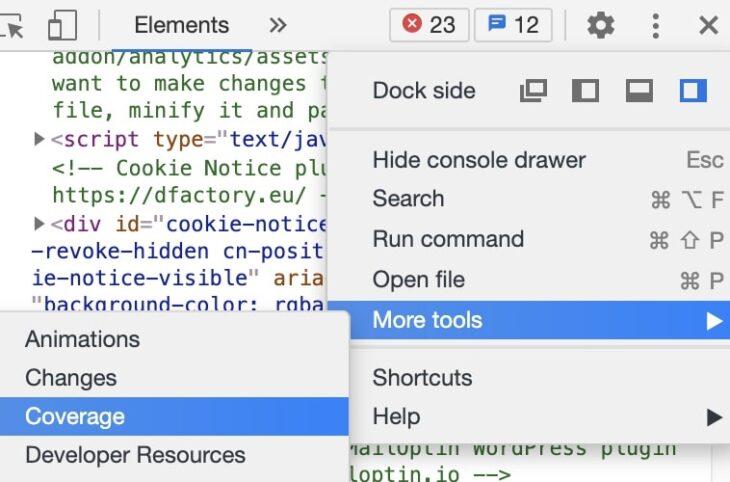 Coverage Report in Chrome Devtools öffnen