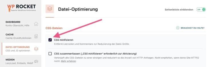 CSS minifizieren mit WP Rocket