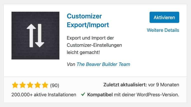Customizer Export/Import WordPress Plugin