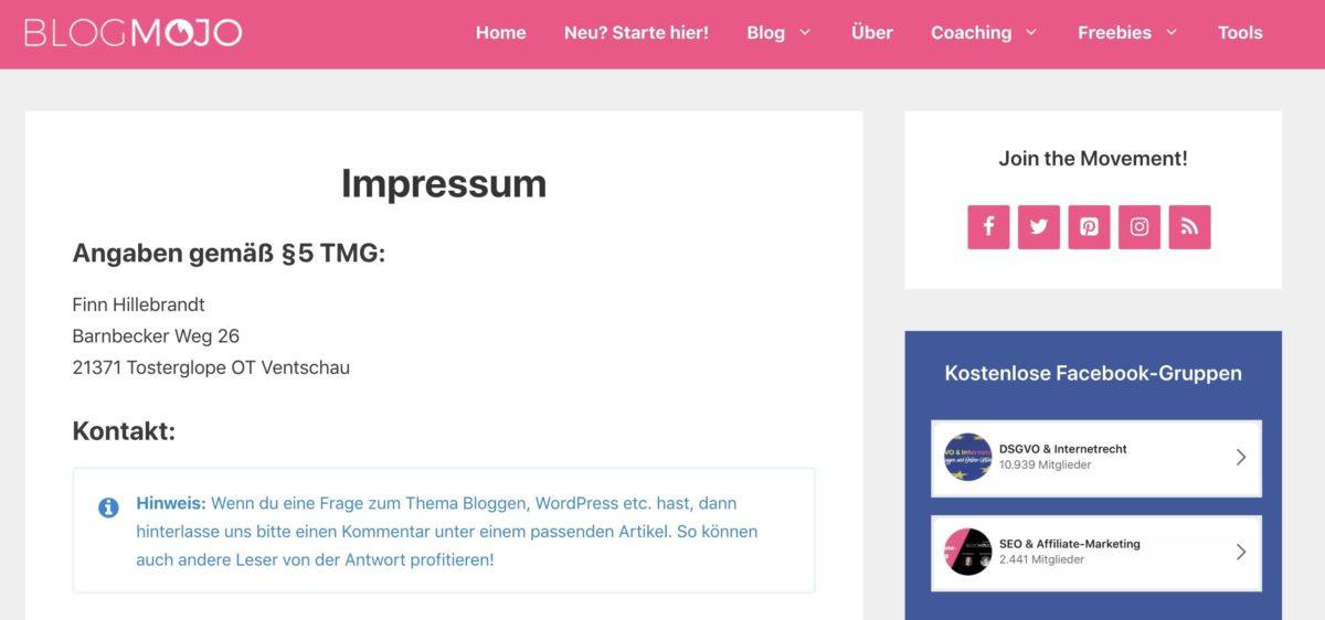 Das Impressum ist bei jeder Website Pflicht!