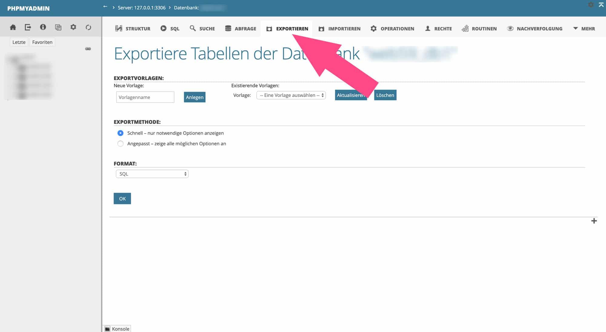 Mit einem Klick auf Exportieren speicherst du deine Datenbank ab