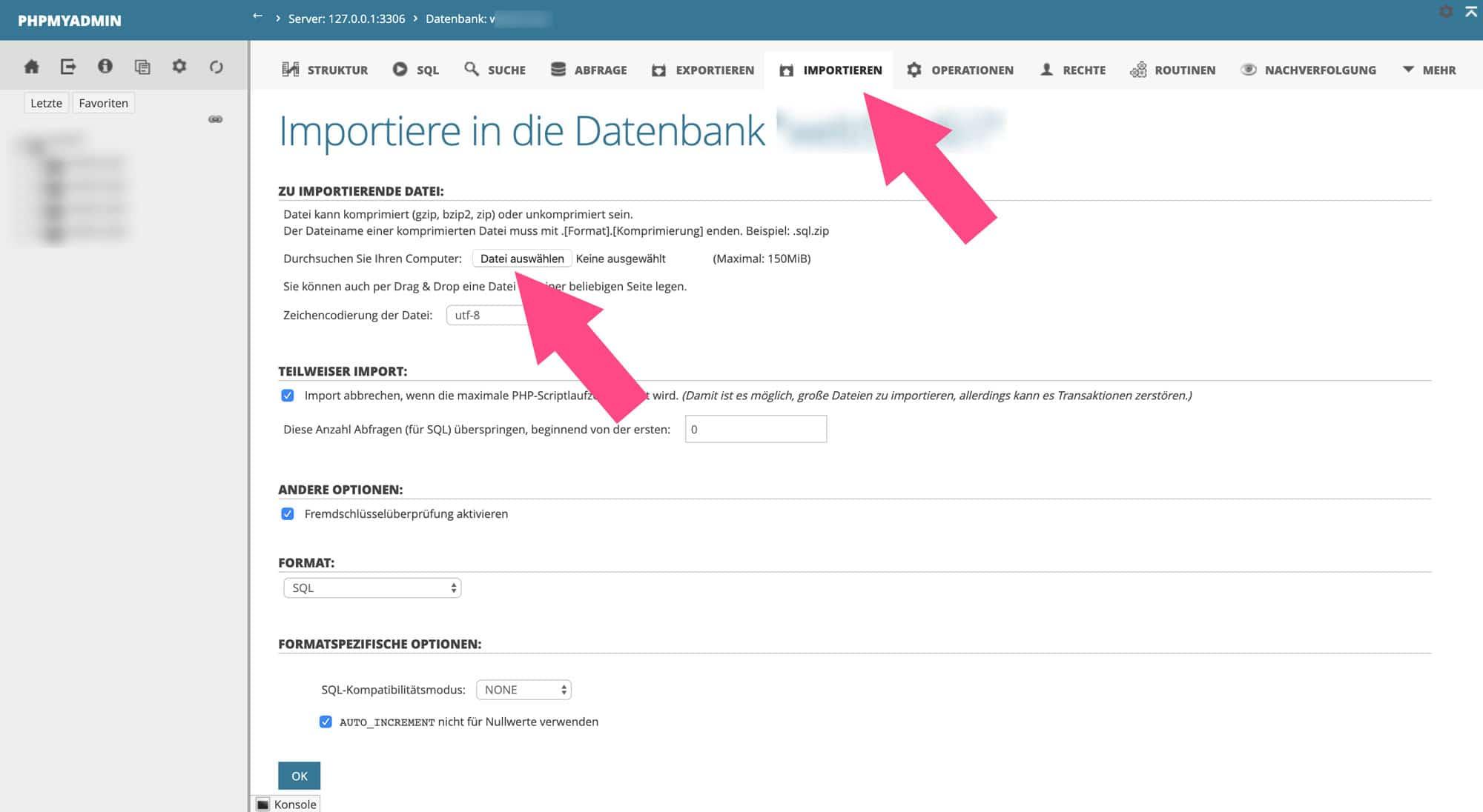 Eine gesicherte Datenbank kannst du einfach über deinen Hoster importieren