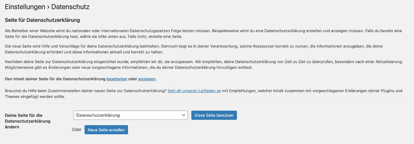 Im WordPress-Backend kannst du eine Datenschutzerklärung erstellen