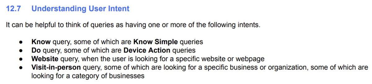 Definition von Suchintentionen in den Google Search Quality Evaluator Guidelines