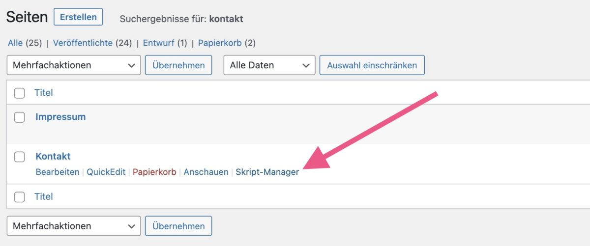 Den Skript Manager über QuickEdit öffnen